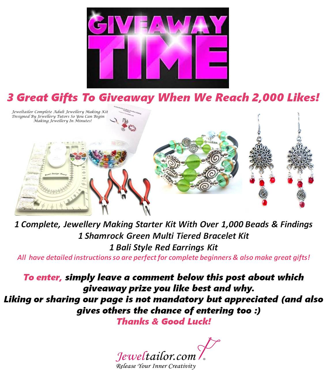 Jeweltailor Latest Giveaway Win 3 Jewellery Making Kits